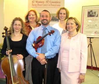 Pennsylvania String Ensemble performed for the Pennsylvania Breast Cancer Coalition reception and exhibit event entitled '67 Women - 67 Counties - Facing Breast Cancer in Pennsylvania'
